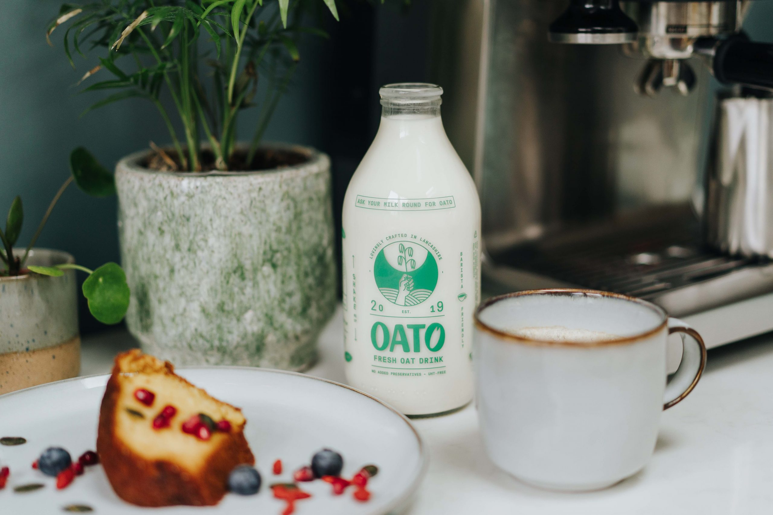 Oato oat milk and cake and tea