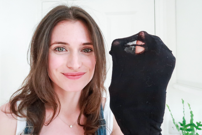 girl with tights with holes in to make DIY hair ties