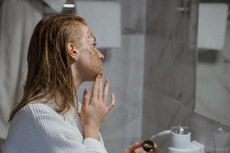 girl with facial coffee scrub